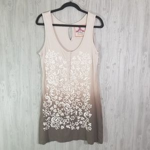 Johnny Was brown ombre embroidered tank dress M